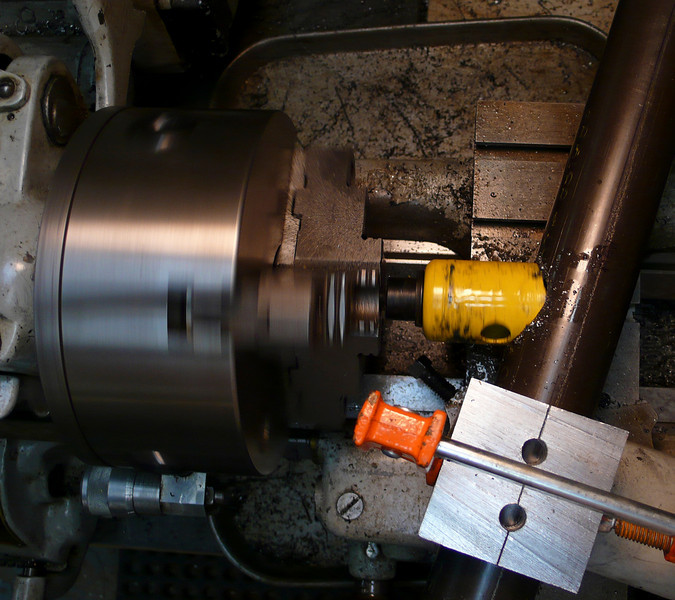 Top view of lathe mitering.