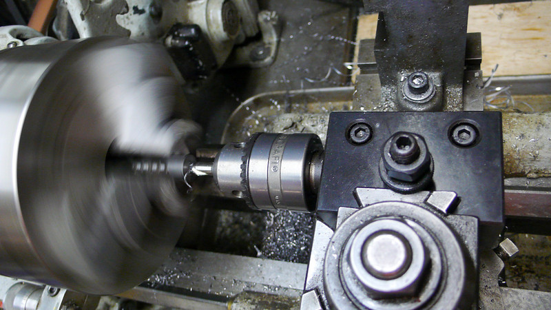 Drilling the 5mm hole axially in the block.  This will be used for the M6 mounting bolts.