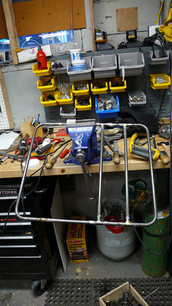 The first couple cross pieces have been brazed into the rack