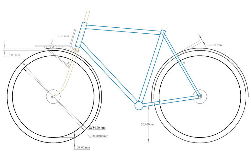 A basic view of the bike without dimensions.  The wheels shown are 650Bx38mm with fenders.