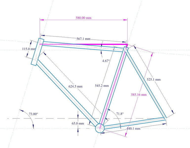 This drawing has centerline tubing lengths and angles.  The purple lines and dimensions are effective lengths (if the frame was built with a level top tube, instead of sloping).