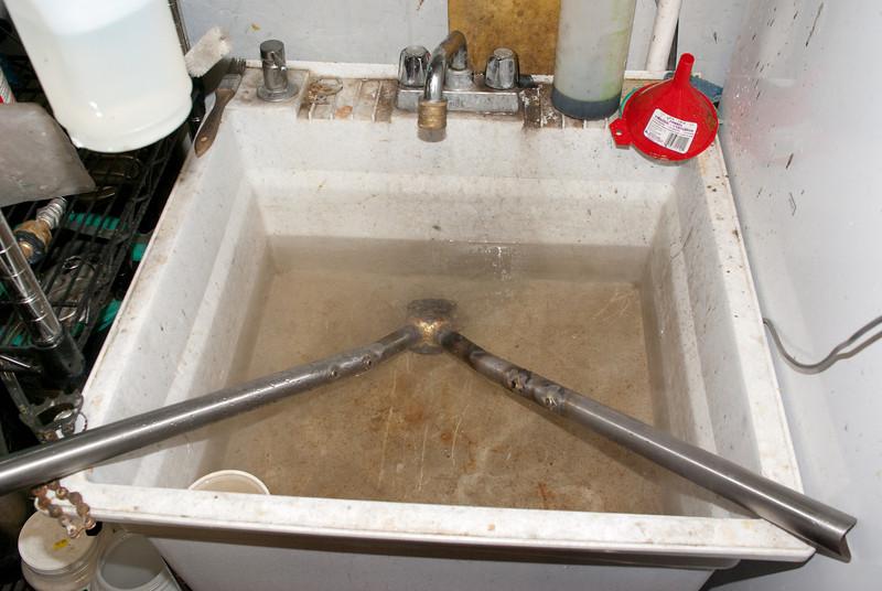 Soaking in the basement sink