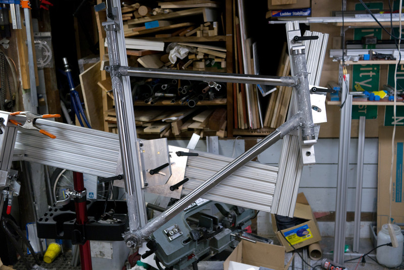 Fluxed and ready to go.  The jig worked well, I had pretty good access.  This is my first lugged (and pinned) frame.