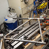 How the frame is setup on the alignment table.  The frame is supported by the bottom bracket.  I have to rotate it because my table is narrow.