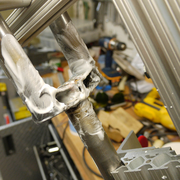 Preparing for brazing the fork legs to the crown