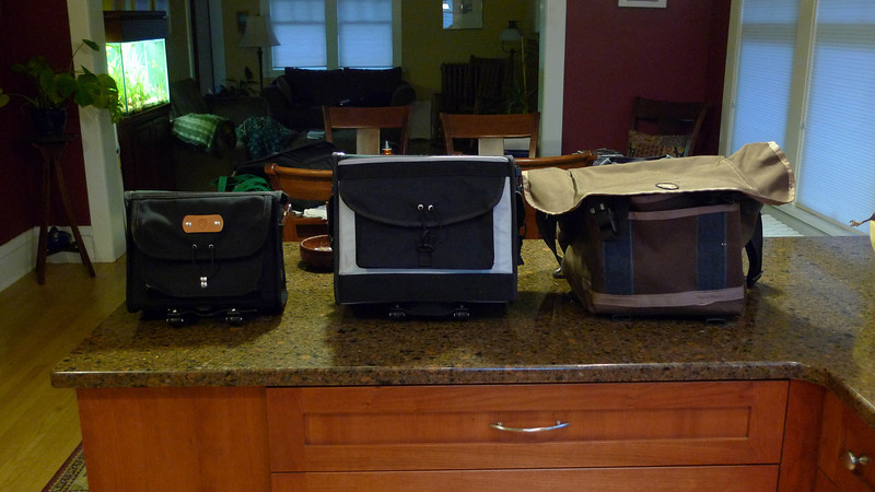Size comparison.  Acorn on the left, Ravenna in the middle, Freight Pass and Stow bag on the right.
