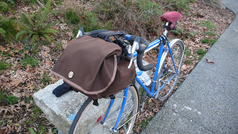 The Pass and Stow bag with a small/average sized load.  You can also mount the bag the other way around (so that it opens towards the rider) for access while riding.