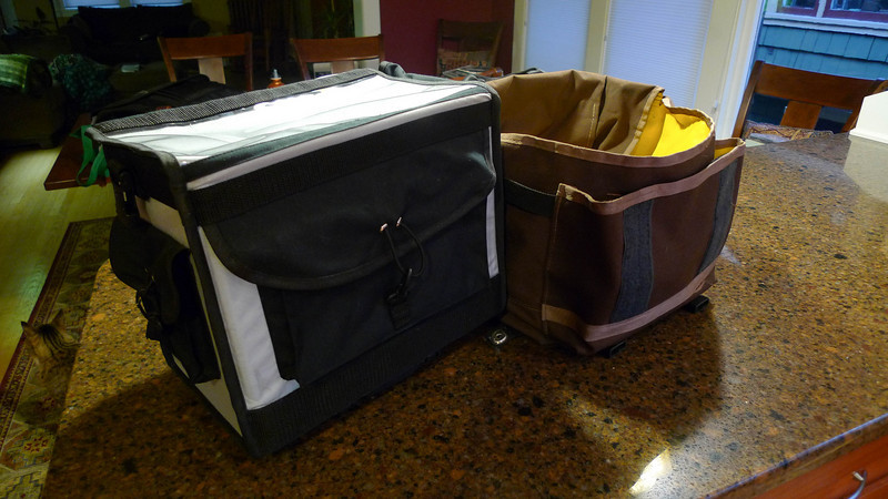 Depth comparison between the Ravenna and Freight bags.  Note that they are close to the same height, the Ravenna bag looks taller because it is sitting on Ortlieb hooks.