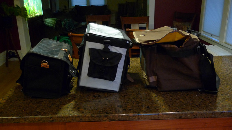 Side comparisons.  The Freight Pass and Stow bag is much deeper than the Ravenna bag, which is in turn deeper than the Acorn.
