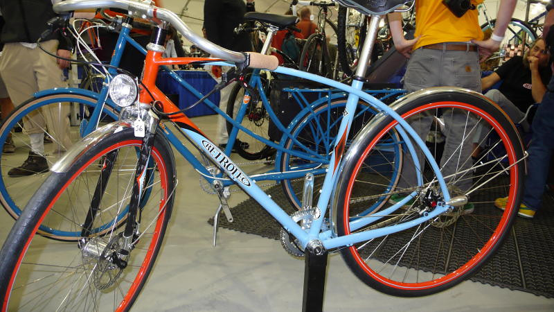 Retro(tec) - Hand built bikes can be (and are) built to every possible market. If you want something mainstream, there are lots of bikes made by the big names to meet that need. If you want something an little unusual, hand built locally is the name of the game. Retrotec mixes disk brakes and handlebar mustaches at the show. The 56 isn't the price, it is the bike's number in the judging for Best in Show, et al.