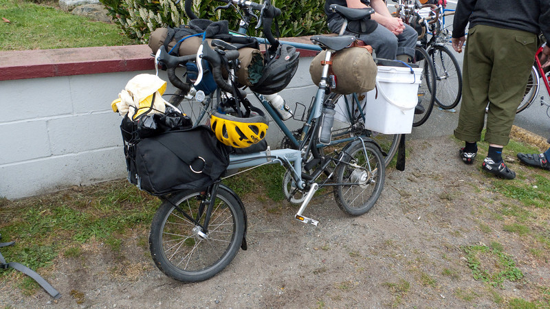 my folded bike loaded for camping