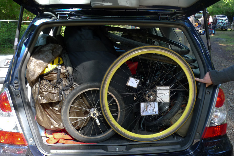 one full forester heading back to seattle.  5 bikes, 5 people, camping gear packed in everywhere