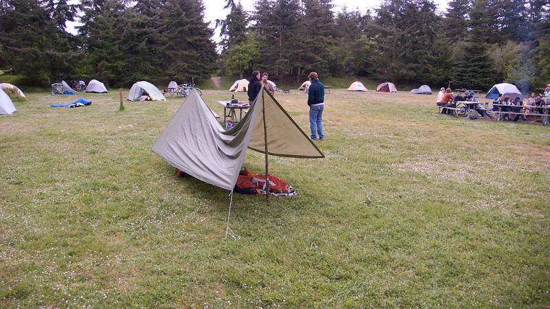 seybold's tarp.  he didn't sleep there