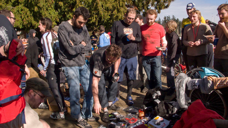 Digging through the prizes, looking for the good ones (there were lots of good ones)