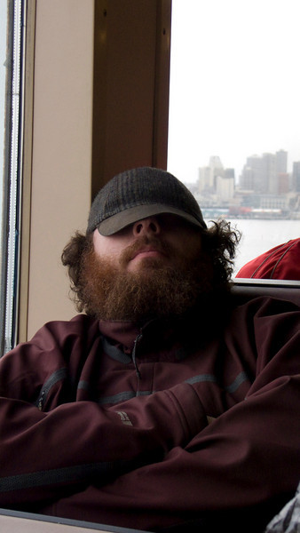 Lee takes a nap on the ferry over