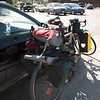 Lee's bike setup with camping gear for three