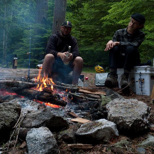 derrick and kalen enjoying the early evening fire