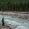 lee starts throwing big sticks into the rapids