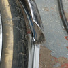 26x60mm fender with Trim Line tires.  There is 25mm of clearance from the tire to the fender.