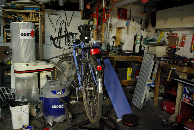 My messy basement with the bicycle lights turned off.