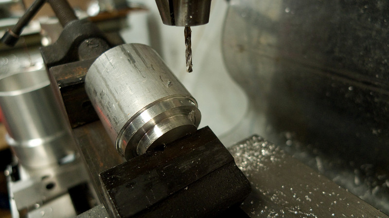 Drilling the through hole on a roughed out pulley