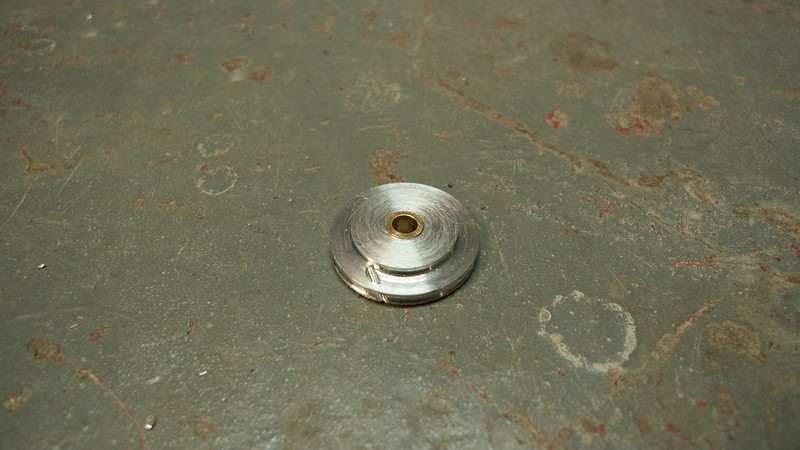 Finished pulley with brass bushing.  This pulley has a 3:2 ratio (vs 2:1 for the stock pulley).