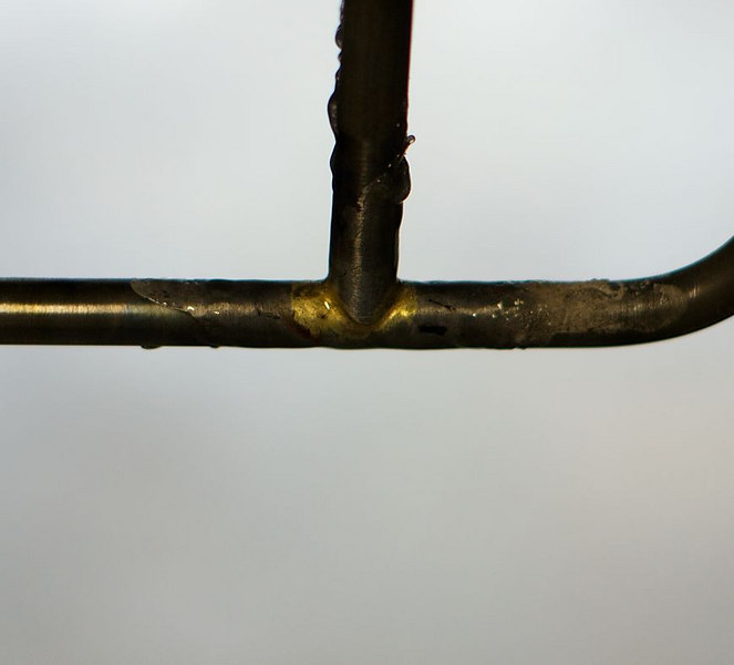 Alex's first brazing job.  Alistair did the right side of this joint and I did the left.