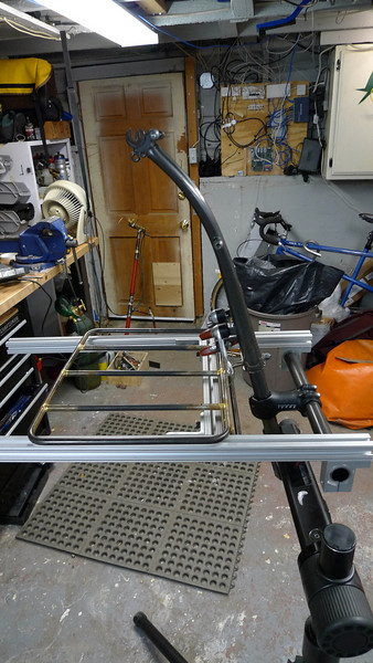 Alistair Spence rack jig (he showed me a drawing of it, I built it up this morning).  It holds the rack platform and the bicycle fork together at the right orientation.