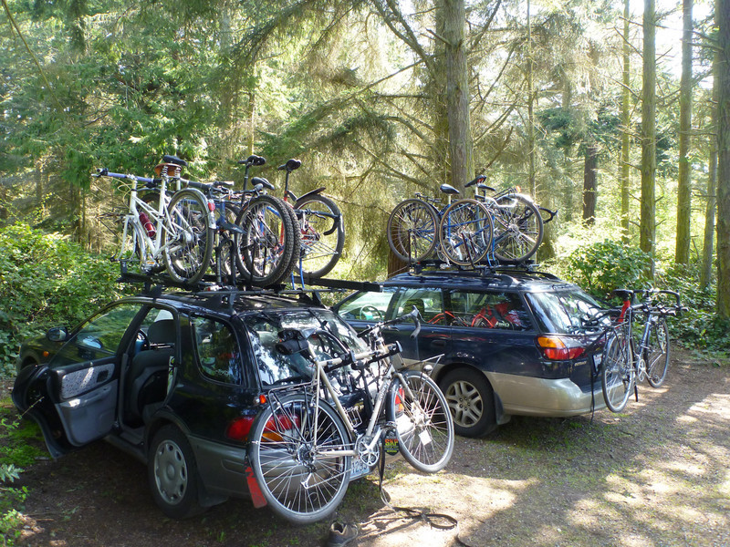 this group knows how to put bikes on subarus.  We had 6 bikes on the small one, 4 on the larger
