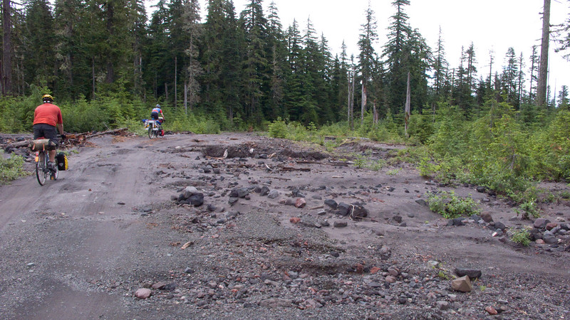 Riding over more washout on NF-81