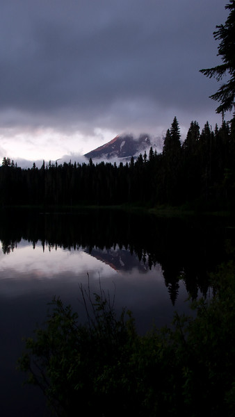 First views of Mt Adams over Lake Takhlakh