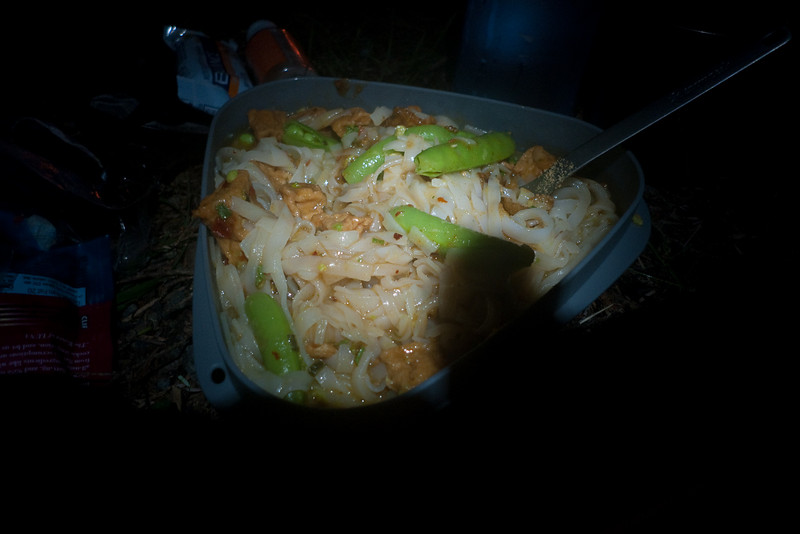 Dinner.  Thai Noodles, Sugar Snap Peas, spiced Tofu, Curry Powder, Jalapenos.  Pretty fancy for camp food.