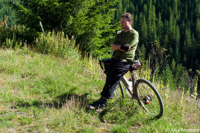 Me, enjoying a break after some climbing.