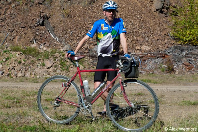 "Mark on his classic ""it is steel, not ti"" custom Ti Cycles."