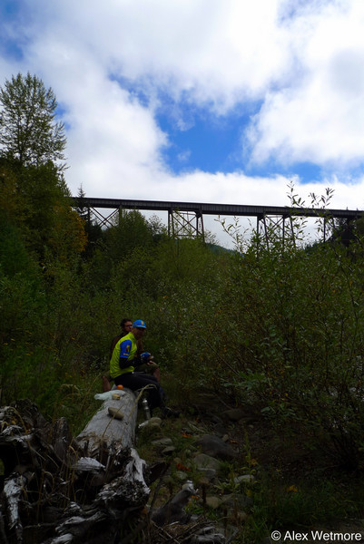 Lunch by a fork of the Green River and under the railroad trestle.