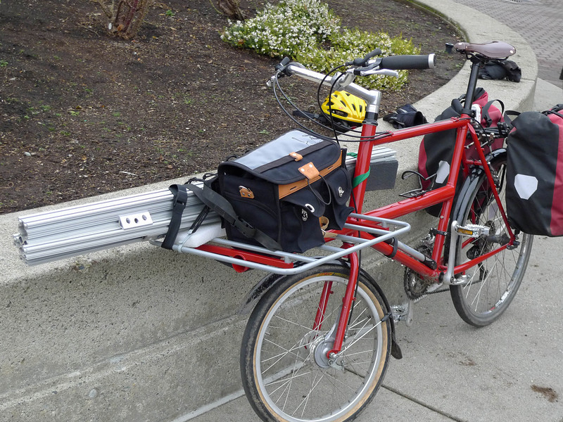 Carrying the frame jig on my cycle truck.  The long pieces were on the rack, all of the small hardware is in the rear panniers.