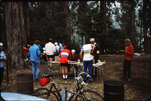 Monte Lee on far left, Pete Jansen at table<br /> no picnic tables yet<br /> 9-27-75    84-34