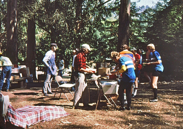 Charles Larribeau, Pete Jansen, susan in back<br /> overseeing lunch<br /> 9-27-75   85-1