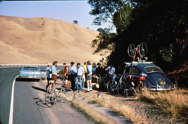 Monte Lee, Marvin Roberts, Charles Larribeau, Roger Dwinell<br /> Briones rest stop<br /> 9-27-75   85-7