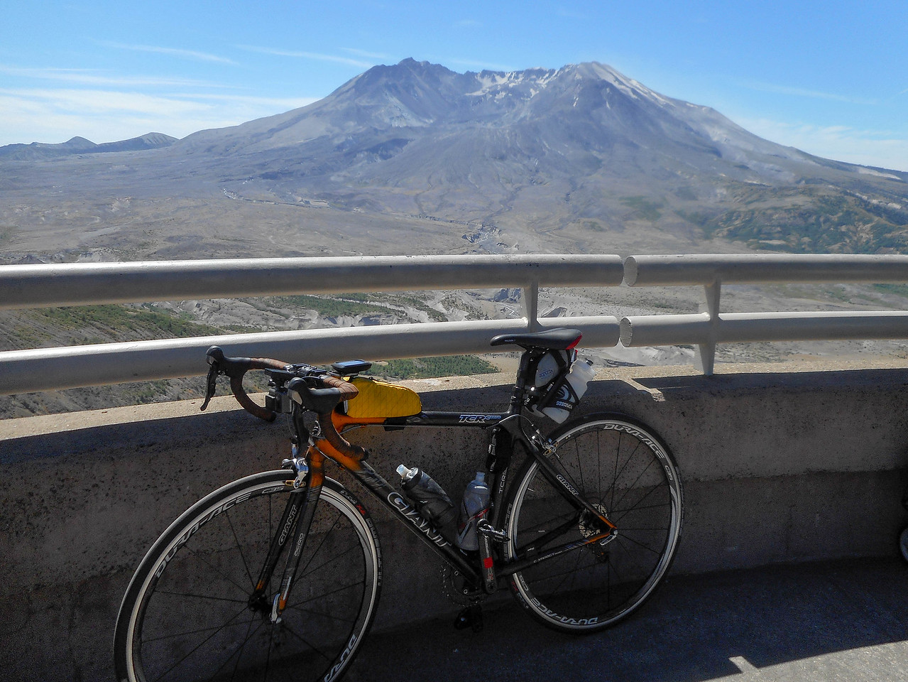 My bike and the crater.
