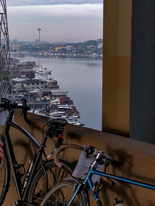 looking across the Ship Canal Bridge to the Space Needle.