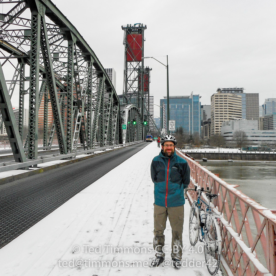 Tedder on the Hawthorne Bridge. #snowday