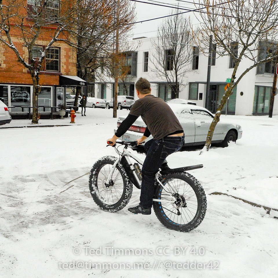 Jeremy riding a fatbike in the snow. #snowday