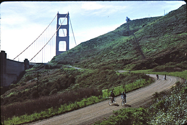 5*Sun, Mar 28, 1971<br /> People: 4 cyclists<br /> Subject: <br /> Place: dirt road from bridge<br /> Activity: bike<br /> Comments: the guy in the shanty was Charles Larribeau