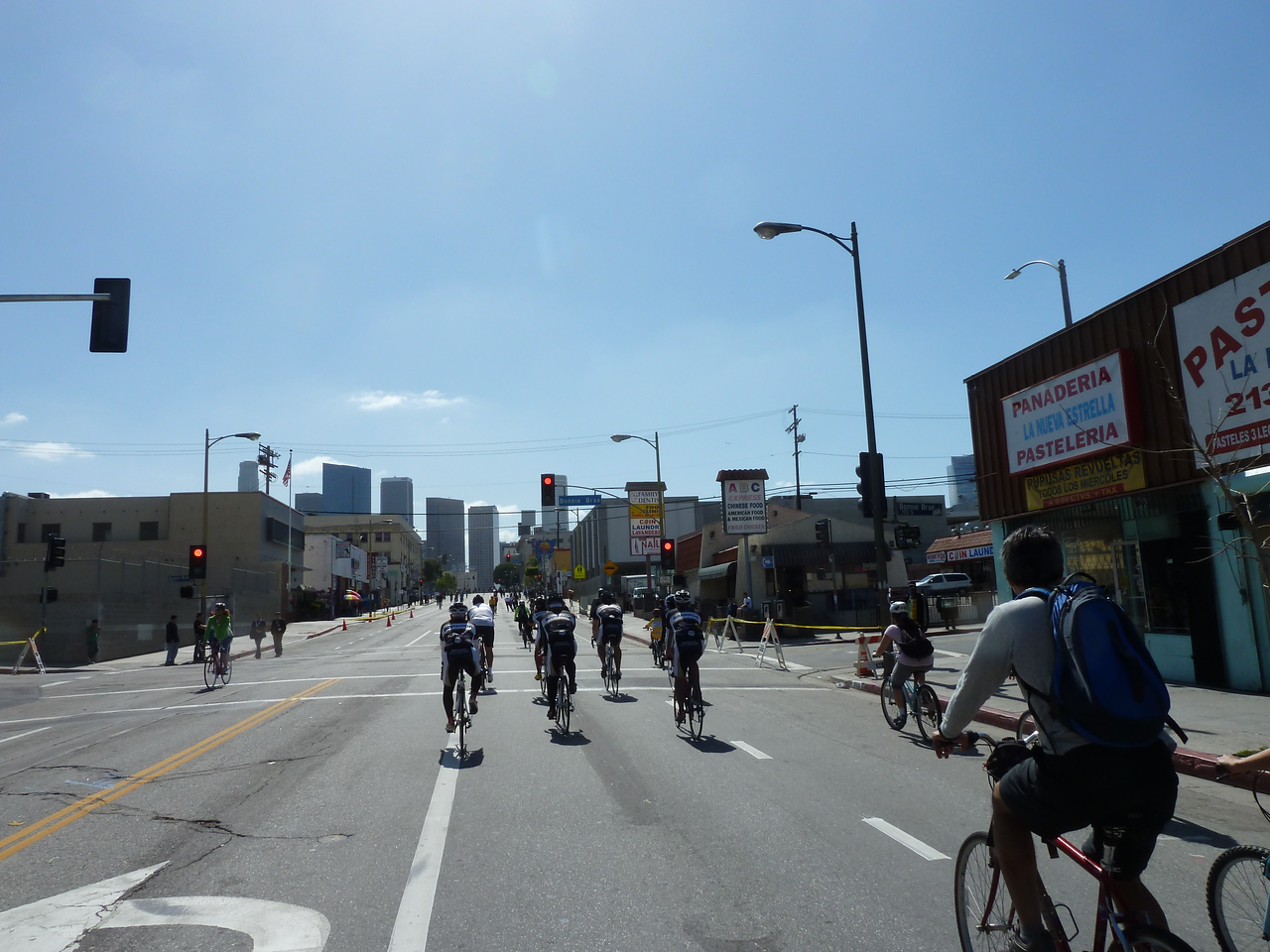Riding on 7th towards downtown.
