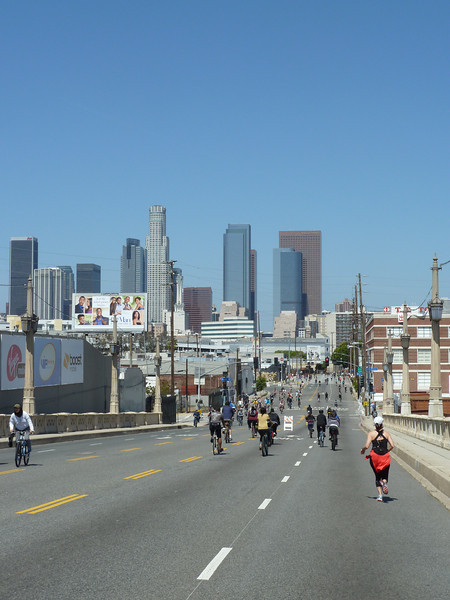 downtown and downhill on the bridge.