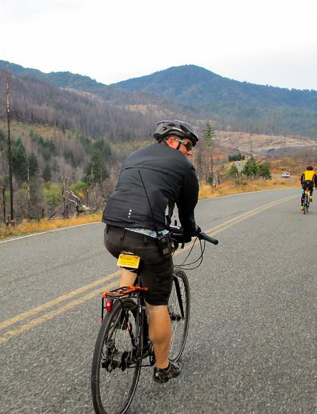 Riding along Cow Creek Road into the 2013 Douglas Complex Fire area. Hi Jeremy.