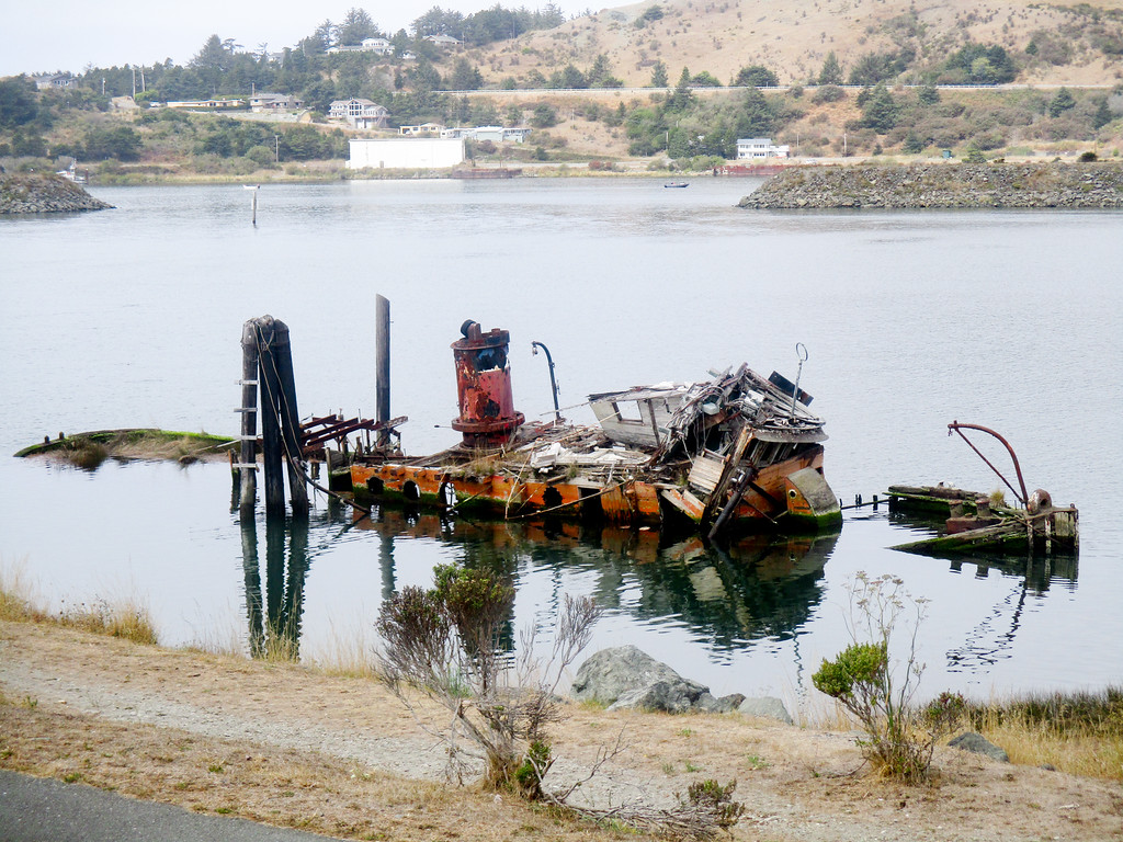 The partially sunk Mary Hume tugboat.