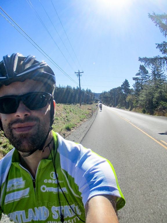 Selfie with Jeremy Kitchen over my shoulder, while riding out to Cape Blanco.