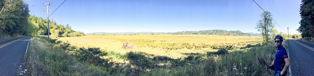 Panorama (and Ted) in the Coquille River valley.